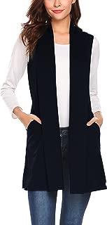 Women's Sleeveless Shawl Draped Waterfall Open Front Cardigan Vest Top