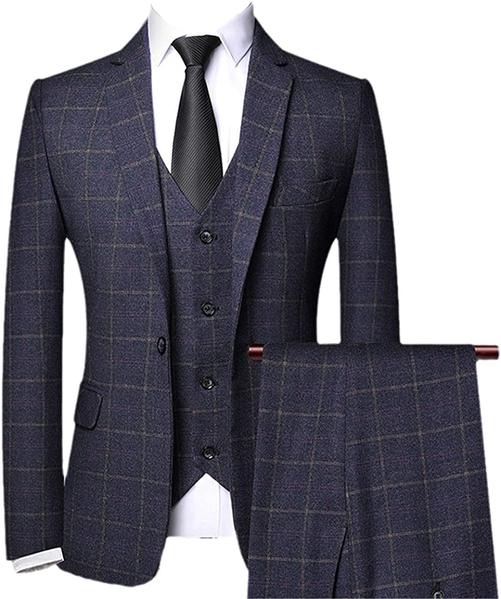 CACLSL Men's 3-Piece Suit Spring and Autumn Checkered Slim-fit Business Formal Suit Office Prom Wedding