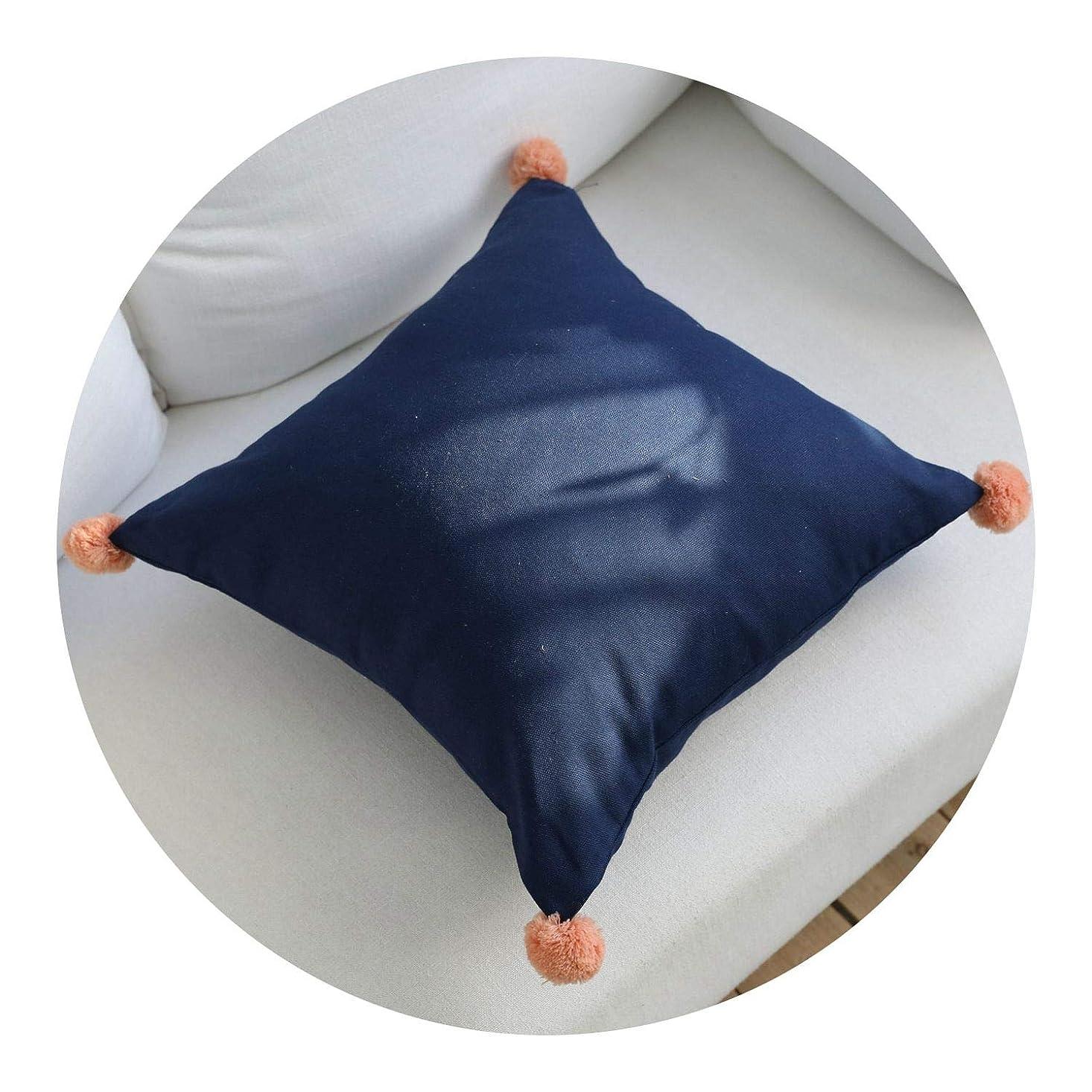 病気のイヤホン不安綿の枕 和風 シンプル 枕,ネイビーブルーオレンジボール抱き枕カバー,45 * 45cm