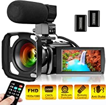 Video Camera Camcorder KENUO Full HD 1080P 30FPS 24MP Vlogging Digital Camera With Lens Hood 3.0 Inch Screen 16X Digital Zoom Camcorder Recorder YouTube Webcam For Live Streaming Camera with Microphon