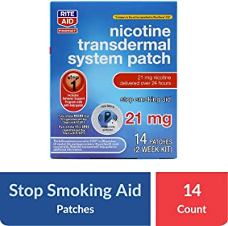Rite Aid Nicotine Transdermal System Patch - Step 1, 21 mg, 14 Count - Nicotine Patches to Help You Quit Smoking - Stop Smoking Aids - Bonus Behavioral Support Program Information Included