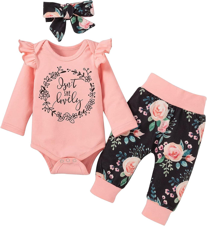 Newborn Baby Girl Clothes Infant Romper Ruffle Short Set Floral Summer Outfits Cute Bodysuit Pants Set