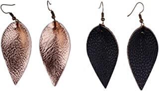 2 Pairs Petal Leather Earrings Faux and Genuine Leather Teardrop Earrings Leaf Drop Earrings