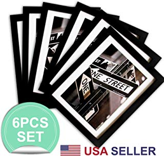 The Display Guys Set of 6 Black Solid Pine Wood 5x7 Picture Frames w/ 2 Premium Mats for 4x6 Pictures, Real Tempered Glass Display