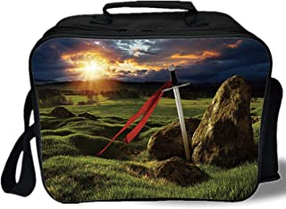 King 3D Print Insulated Lunch Bag,Arthur Camelot Legend Myth in England Ireland Fields Invincible Sword Image,for Work/School/Picnic,Green Blue and Red