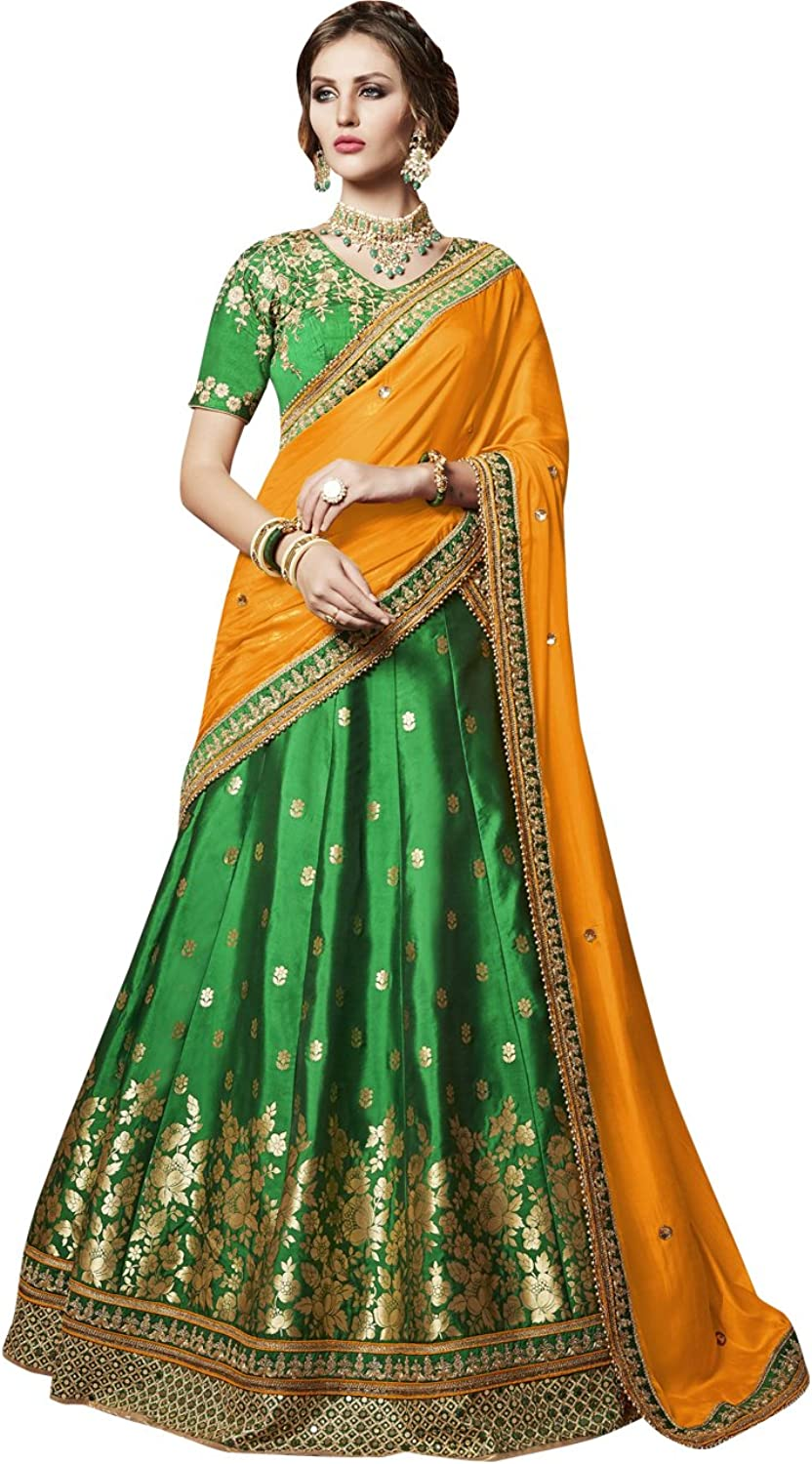 Exclusive Indian Ethnicwear Mustard and Green Coloured Lehenga Saree