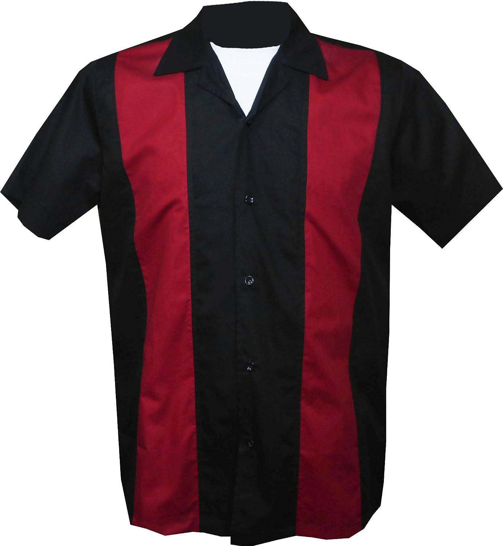 Rockabilly Fashions Herren Freizeit-Hemd, Einfarbig Schwarz Rot M B07DWDQDBZ  Angenehmes Aussehen