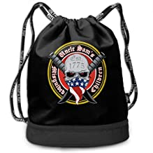 RJ4ujadbfsasv Uncle Sam's Misguided Children Multifunctional Beam Drawstring Backpack Unisex Suitable for Outdoor Travel