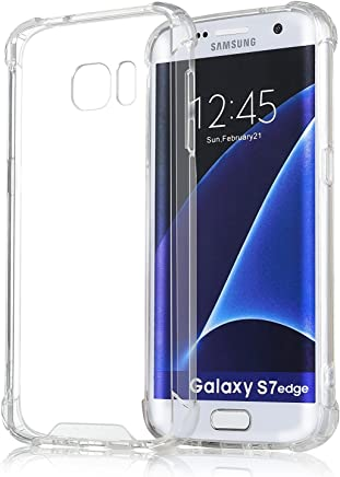 ELOVE Crystral Clear/Ultra-Slim/Shock Absorbing (Hard Pc + Soft TPU) Non-Slip Grid Back Cover for Samsung Galaxy S7 Edge - Clear