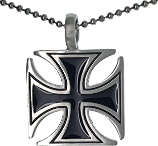Ohdeal4U German Gothic Cross WWII Biker Punk Amulet Charm Silver Pewter Pendant Necklace