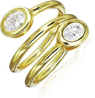 خاتم ريفر آيلاند من الفضة الاسترليني مكعب زركونيا حلزوني قابل للتعديل، مقاسات 5-9   متوفر باللون الفضي والوردي والأصفر