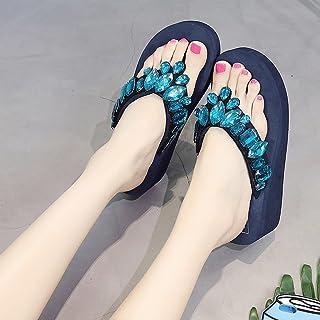 女性スリッパ夏のファッション屋外サンダル厚い底滑りにくいトレンドビーチシューズ ( 色 : 青 , サイズ さいず : US:5\UK:4\EUR:35 )