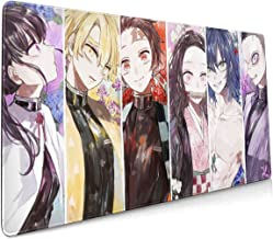 Anime Kimetsu No Yaiba Demon Hunters Mouse Pad 15.8x35.5 in Large Gaming Mouse Pad Desk Mat Long Non-Slip Rubber Stitched Edges