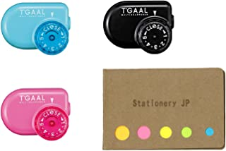 Kutsuwa STAD Angle Adjustable Pencil Sharpener T'GAAL, 3 Color Body, Sticky Notes Value Set