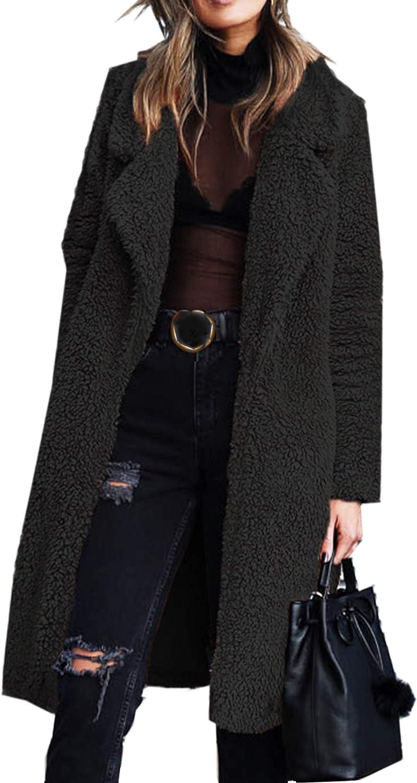 Angashion Women's Fuzzy Fleece Lapel Open Front Long Cardigan Coat Faux Fur Warm Winter Outwear Jackets