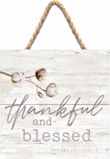 P. Graham Dunn Thankful and Blessed Cotton Blossom 7 x 7 Inch Wood Pallet Wall Hanging Sign