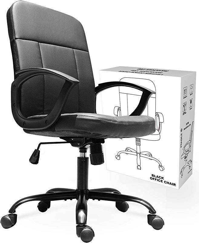 Office Chair Mid Back Premium Bonded Leather Office Computer Swivel Desk Task Chair Ergonomic Executive Chair With Lumbar Padding And Armrests