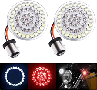 """Fuguang [2PC-2""""] Motorcycle Front LED Turn Signal Lights 1157 Front Running/Turning Lights White with Red for Harley Davidson Motorcycles, No Smoke Lenses (White & Red, 1157 Front Turn Signal Light)"""