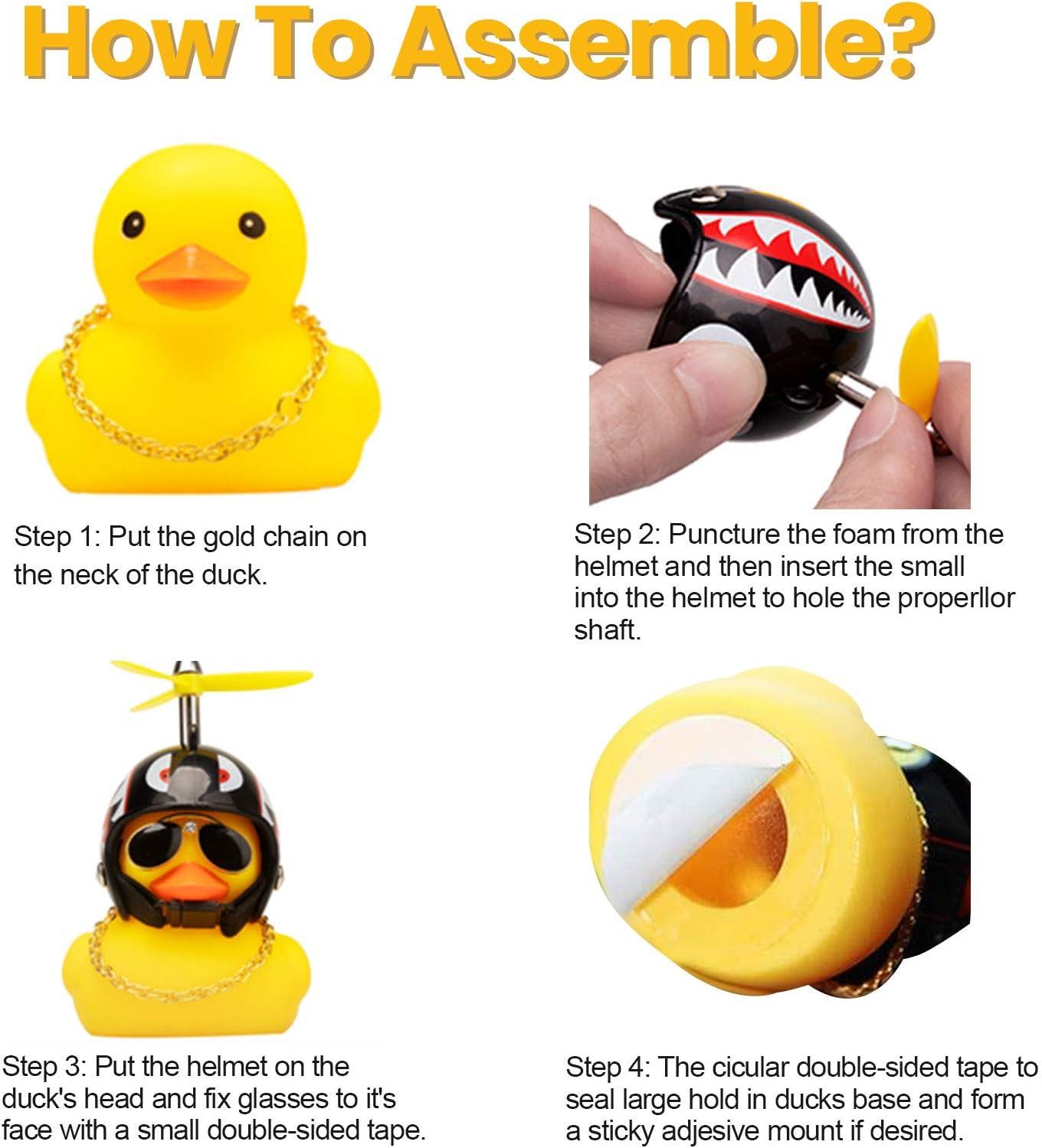 Shark + Black 8 Duck Car Dashboard Decorations Rubber Duck Car Ornaments Cool Duck with Propeller Helmet Sunglasses Gold Chain