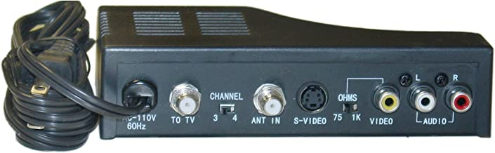 RF Modulator with S-Video, Composite Audio/Video RCA/S-Video to F-pin Coaxial, Channel 3/4 Selector