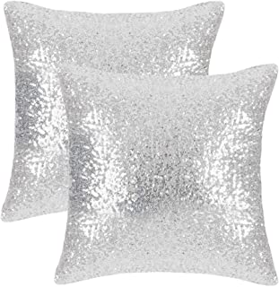 PONY DANCE Silver Throw Pillows - Sparkling Sequins Decor Cushion Covers Glitzy Sequin Solid Throw Pillowcases for Party/Christmas, Hidden Zipper Design, 18 inch Square(45 cm), Silver, Pack-2