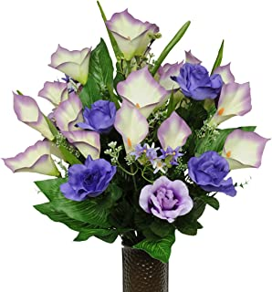 Sympathy Silks Artificial Cemetery Flowers - Realistic - Outdoor Grave Decorations - Non-Bleed Colors, and Easy Fit - Purple Rose and Calla Lily - with Flower Holder