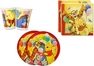 Winnie the Pooh Birthday Party Supplies Set Plates Napkins Cups Kit for 16