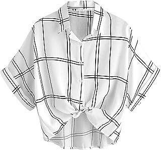MakeMeChic Women's Collar Button Down Shirt Summer Knot Front Blouse