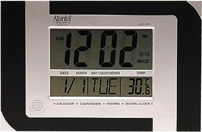 Ajanta Rectangle Plastic Digital Wall Clock (29 cm x 19 cm x 2.1 cm, Black)