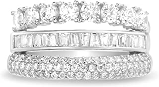 ميا سارين مطلي بالروديوم الفضة الاسترليني مكعب زركونيا ثلاثة صفوف خواتم خواتم زفاف للنساء