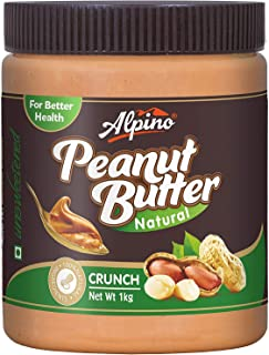 Alpino Natural Peanut Butter Crunch 1Kg (Unsweetened),No cholesterol