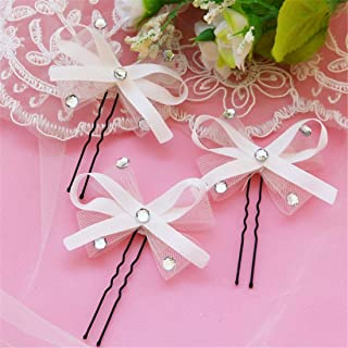 LUKEEXIN 10pcs Bride Handmade Bow Hairpin Ribbon Ribbon Bow Net Hair Accessories Wedding Jewelry (Color : White)