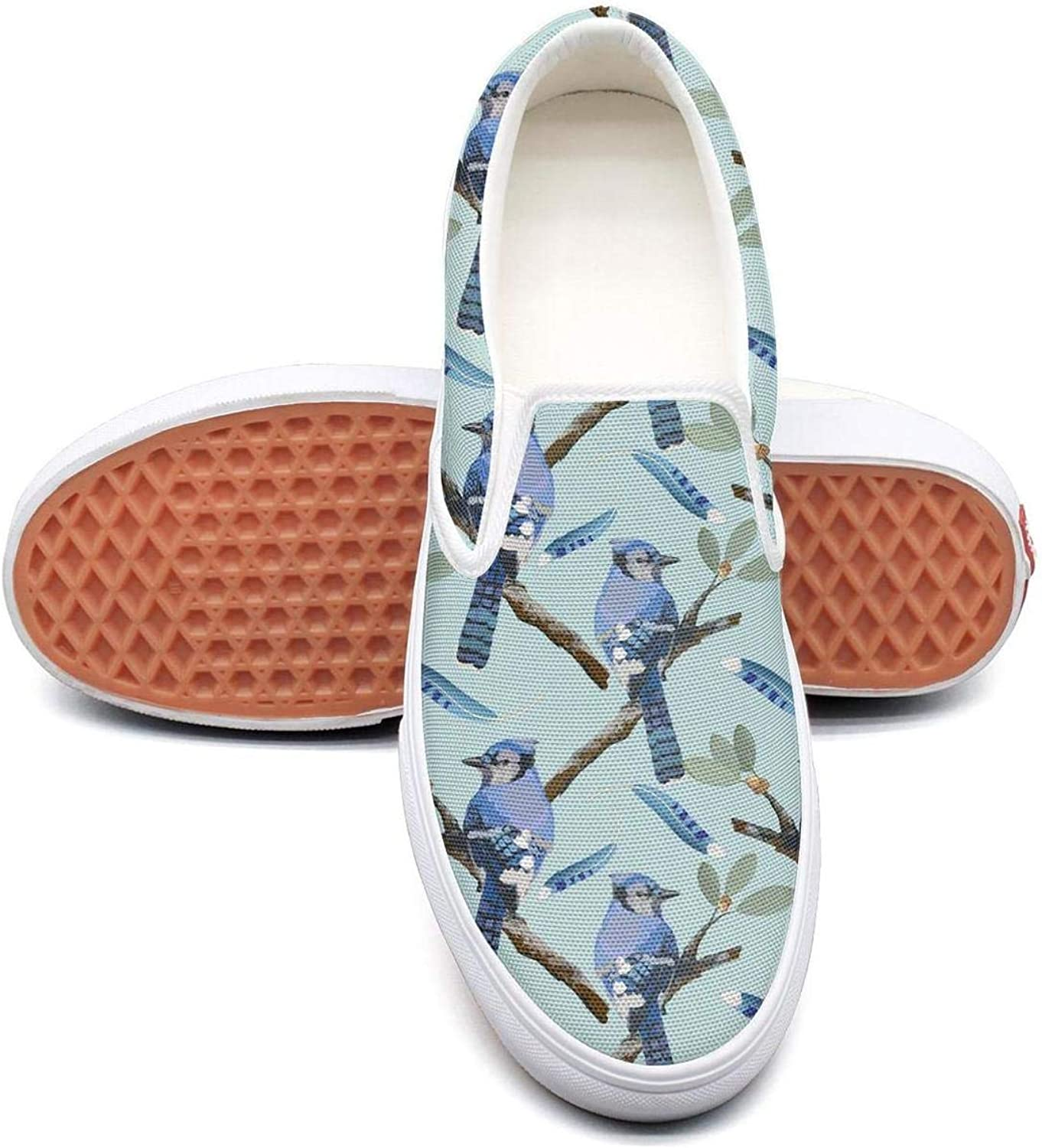 Refyds-es Watercolor Bird Feather bluee Jay Birds Spring Womens Fashion Slip on Low Top Lightweight Canvas Running shoes