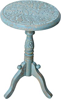 Artesia Solid Wood Hand Carved Rajasthan Folding Accent Coffee Table, 12 Inch Round Top x 18 Inch Hight (Turquoise Blue)