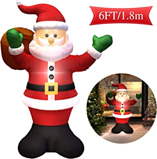 MAJALiS 6 Foot Inflatable Santa Claus LED Light Up Giant Christmas Xmas Inflatable Santa Claus Carry Gift Bag for Blow Up Yard Decoration, Indoor Outdoor Garden Christmas Decoration