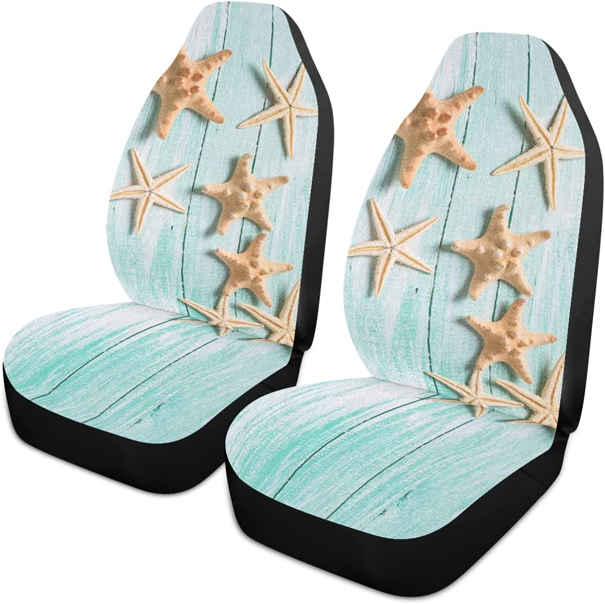 Sale Special Price Oarencol Summer shop Starfish Teal Wooden Covers Universal Seat Car A