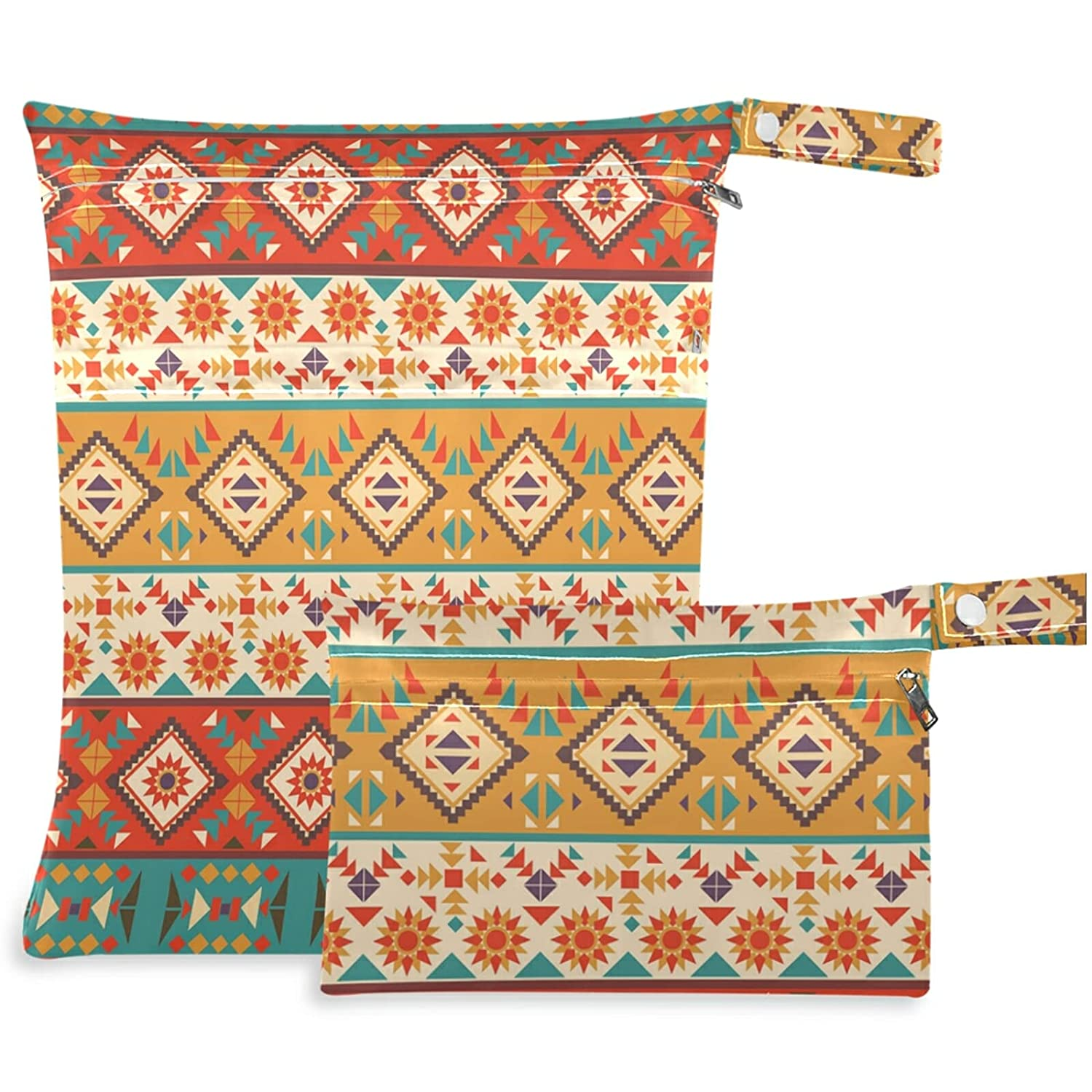 visesunny Colorful Navajo Pattern 2Pcs Under blast sales Bag New Shipping Free Wet with Poc Zippered