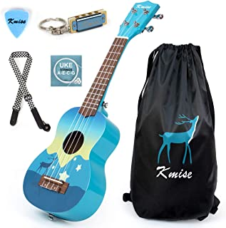 Soprano Ukulele 21 inch Instrument Gift for kids with Carry Bag String Pick Strap