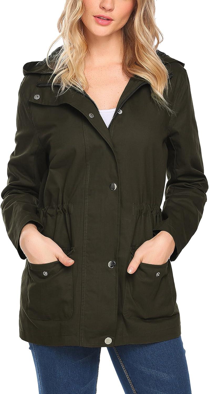 Beyove Women's Military Anorak Utility Classic Safari Jacket Pockets