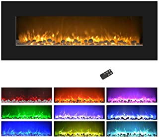 Northwest Electric Fireplace Wall Mounted, Color Changing LED Flame and Remote, 50
