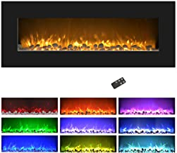 """Northwest Electric Fireplace Wall Mounted, Color Changing LED Flame and Remote, 50"""", Black"""