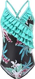 Girls One Piece Swimsuits Hawaiian Ruffle Bathing Suit for Kids Floral Swimwear 3-16 Years