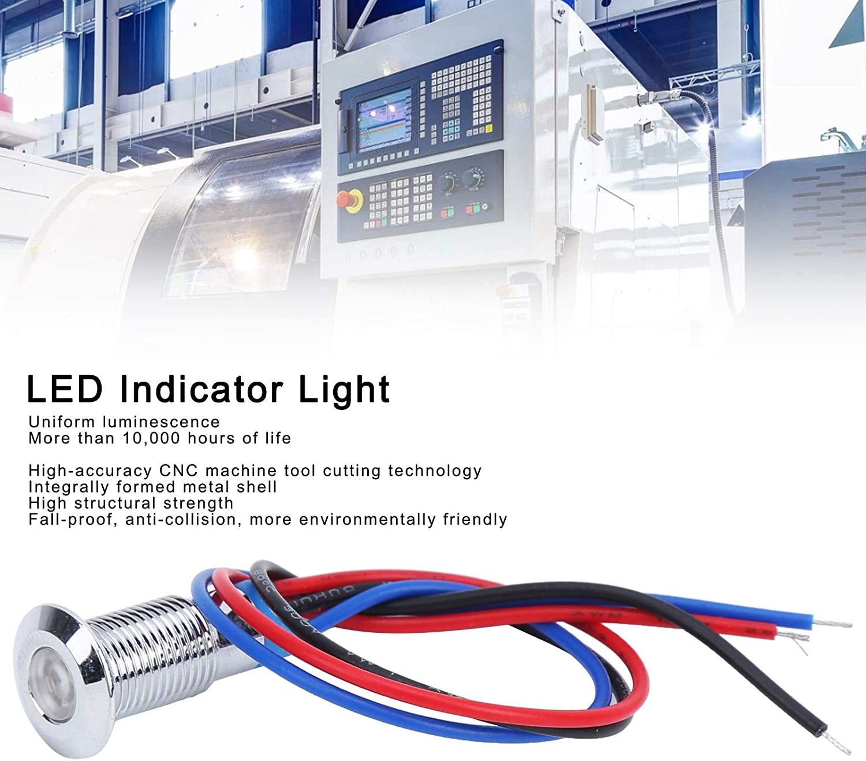 Signal Lamp 2‑Color LED Metal Indicator Light 8mm 12‑24V Signal Common Anode Waterproof 4 Set LED Indicator Light Red+Blue
