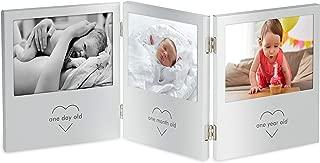 VonHaus My First Year Baby Photo Frame - Triple Hinged Baby Picture Frame - Keepsake Picture Frame
