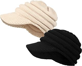 SATINIOR 2 Pieces Warm Cable Knit Cap with Brim Unisex Ribbed Knit Hat with Visor Beige and Black