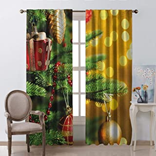 Waynekeysl Rod Curtains for Living Room 2 Panels,Christmas Close Up Decorated Christmas Tree Branches on Blurred Fairy Backdrop Picture Rod Pocket Window Curtains(W54 x L62 Inch)