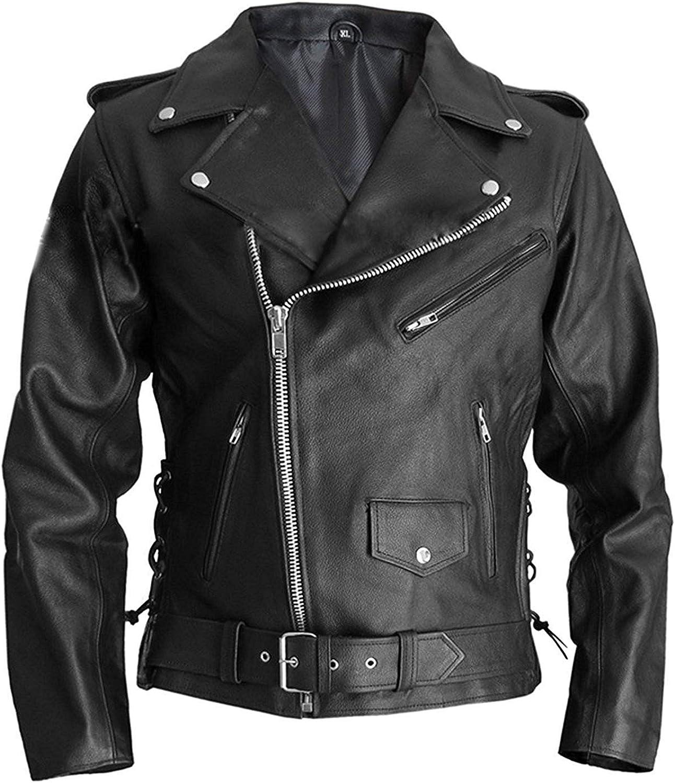 Terminator Marlon Brando Arnold Schwarzenegger Style Biker Real Leather Jacket