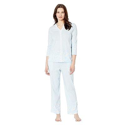 Carole Hochman Long Pajama Set (Blue Daisy Border) Women