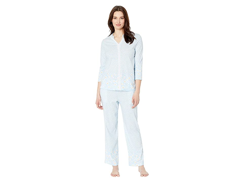 Carole Hochman Long Pajama Set (Blue Daisy Border) Women