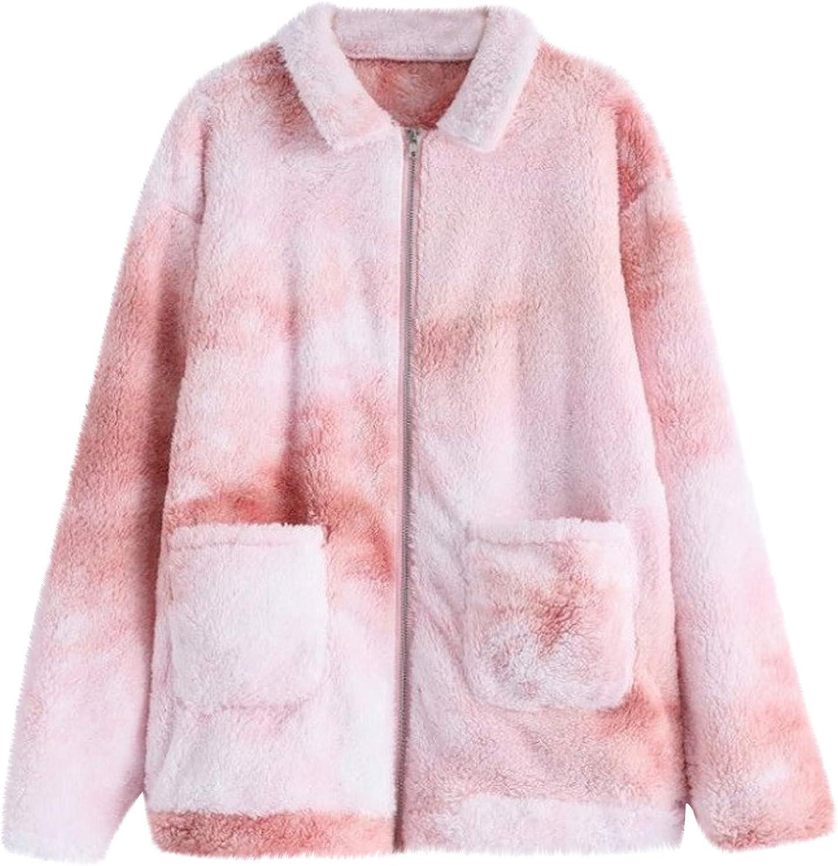 Winter Sweatshirt for Women Warm Tie Dye Fuzzy Fleece Full Zip Coat Comfy Long Sleeve Jacket with Pockets